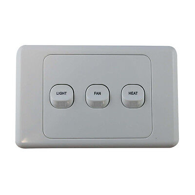 AU16.99 • Buy 3 Gang Wall Switch - PRINTED WITH FAN LIGHT HEAT - Electrical Light Switch - SAA