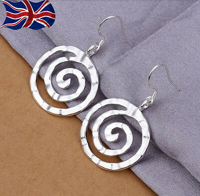 £3.89 • Buy 925 Sterling Silver Plated Circle Earrings Drop Hammered Finish Spiral Dangle UK