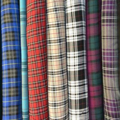 Polyviscose Tartan Fabric - Plaid Check - 150 Cm Wide Material. • 6.40£