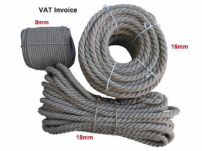 Natural Jute Rope Decking Garden Boating Agriculture Camping Sailing 8,16,18mm • 9.97£