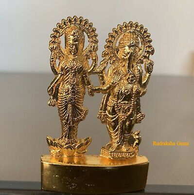 Laxmi Lakshmi Ganesha Ganpati Metal Mini Statue Hindu God Idol Office Home Altar • 4.79£