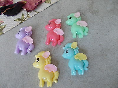 5 X My Little Pony Flat Backed Cabochons, Ring,Earring,Scrapbooking,Card Making • 2.75£