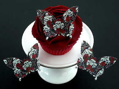 15 *pre-cut* Skull & Roses Gothic Butterflies Edible Rice Wafer Paper Toppers • 2.34£