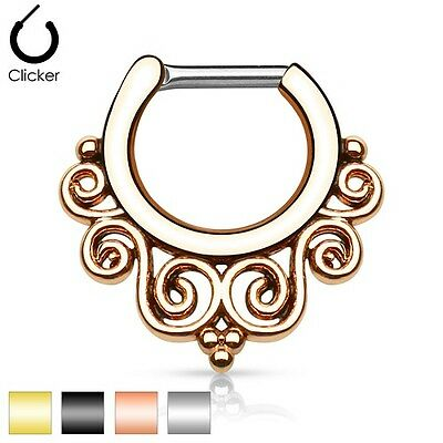 £4.98 • Buy New Surgical Steel Tribal Swirl Nose Septum Ring Clicker 16g 14g Gold Silver