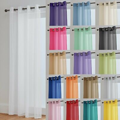 £8 • Buy Voile Curtains With Eyelet Ring Top Heading - Net Voile Curtain - Lucy Panel
