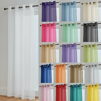 Voile Curtains With Eyelet Ring Top Heading - Net Voile Curtain - Lucy Panel • 8£