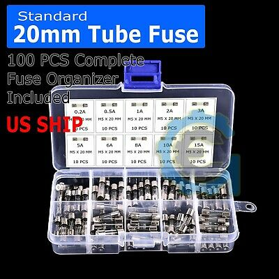 $6.75 • Buy 5x20mm Car Boat Quick Blow Glass Tube Fuse Assorted Kit Fast-blow Glass Fuses