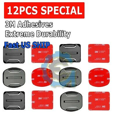 $ CDN3.79 • Buy 12Pcs Helmet Accessories Flat Curved Adhesive Mount For Gopro Hero 1 2 3 3+ 4