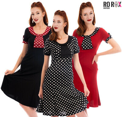 £16 • Buy 40s 50s Vintage Style Dress Hourglass Trumpet Tea Party Dinner Cocktail Polka