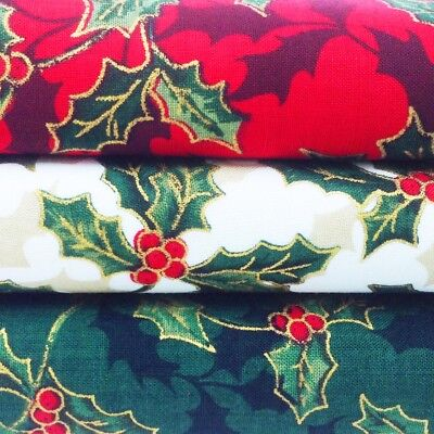 £3.50 • Buy Christmas Fabric Per Metre Fat Quarters Red Green Cream Holly Gold Craft Festive