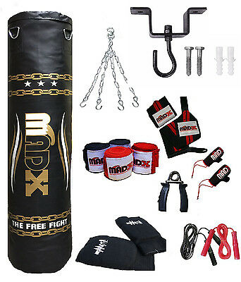 AU106.98 • Buy MADX 15 Piece 5ft Heavy Filled Boxing Punch Bag Set,Gloves,Hook,Chains MMA