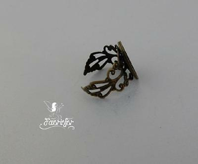 £2.45 • Buy Bronze Filigree Adjustable Ring Blank Bezel Setting For A 13 X 18 Mm Cabochon