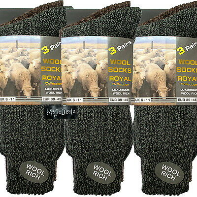 12 Pairs Mens Thermal Socks Walking Winter Warm Thick Rich Wool Hike Chunky Boot • 10.95£
