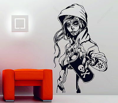 Candy Sugar Skull Graffiti Girl Tattoo Decor Vinyl Wall Sticker Decal Rockabilly • 7.98£