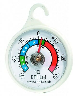 Dial Fridge/Freezer Thermometer/Kitchen Appliance - With Hanging Hook • 3.50£