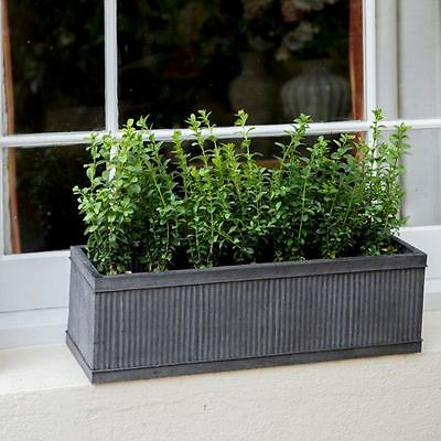 Vence Stylish Galvanised Metal Window Box Flower Herb Planter - Small 60cm • 39.99£