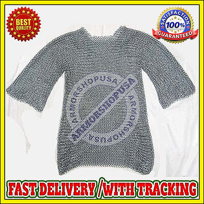 £20 • Buy Medieval Aluminium Chainmail Shirt Butted Chain Mail Haubergeon For Re-enactment