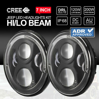 AU259.99 • Buy PAIR 100W 7 Inch CREE LED Headlights ADR Approved For Jeep Wrangler JK 97-17
