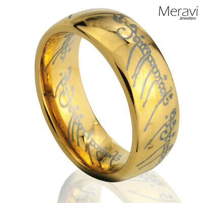 $11.95 • Buy Tungsten Carbide Gold Dome One Men Jewelry Band Promise Lord Of The Elvish Rings