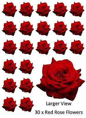 30x Red Roses Flowers Cupcake Toppers Edible Wafer Paper Fairy Cake Toppers • 1.85£
