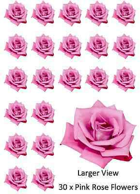 30x Flowers Pink Rose Cupcake Toppers Edible Wafer Paper Fairy Cake Toppers • 1.85£