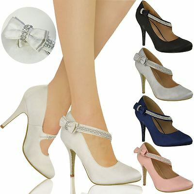 Womens Ladies Bridal Wedding Prom Party High Heel Classic Pumps Shoes Size • 18.99£
