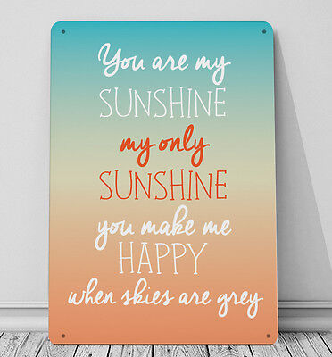 You Are My Sunshine Quote Sign A4 Metal Plaque Gift • 14.99£