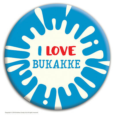 Brainbox Candy 'I Love Bukakke' Badge Rude Funny Novelty Cheap Gift Hen Stag Do • 1.59£