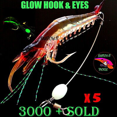 AU9.90 • Buy 5 Soft Plastic Fishing Lures Tackle Prawn Shrimp Flathead Bream Cod Bass Lure