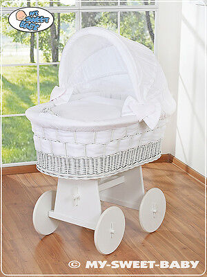 £289 • Buy NEW BABY LARGE WICKER CRIB / MOSES BASKET WITH STAND, BEDDING & MATTRESS - White