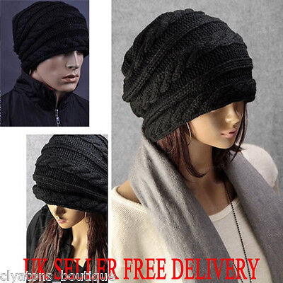 £5.94 • Buy New Warm Winter Fashion Unisex Oversized Cable Knit Baggy Beanie Slouch Hat Cap
