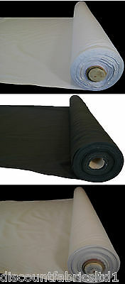 £3.89 • Buy 100% 59  Cotton Calico Fabric Black White Natural Medium Weight 145gsm By Metre