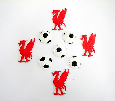 Loose Cake Decorations 4 X Birds And 5x Footballs  Liverpool Football • 7.50£