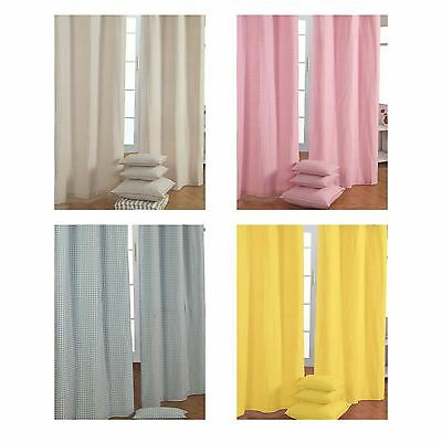 Gingham Eyelet Ready Made Curtain Beige Blue Pink Yellow Kids Children Curtains • 24.99£
