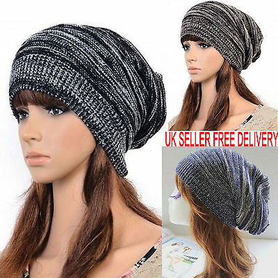 £5.94 • Buy Mens Ladies Knitted Woolly Winter Oversized Slouch Beanie Hat Cap Unisex