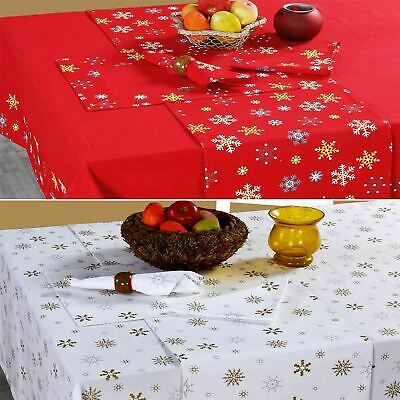 Cotton Christmas Tablecloth XMAS Red & Gold Snowflakes Tableware Cover • 12.99£