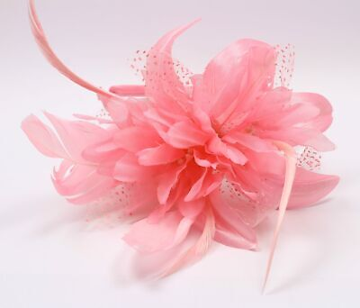 £3.75 • Buy Pink Fascinator Set On Alice Band With Chiffon Flower And Feather Tendrils