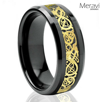 $13.95 • Buy Black Tungsten Carbide Gold Celtic Dragon Ring Mens Jewelry Wedding Band 8mm 6mm