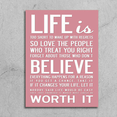 £4.99 • Buy Shabby Chic Style Pink Life Is Inspirational Quote Metal Sign Wall Door Plaque