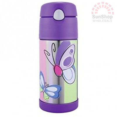 AU23.95 • Buy THERMOS Funtainer S/S 355ml Vacuum Insulated Beverage Bottle Purple Butterfly!