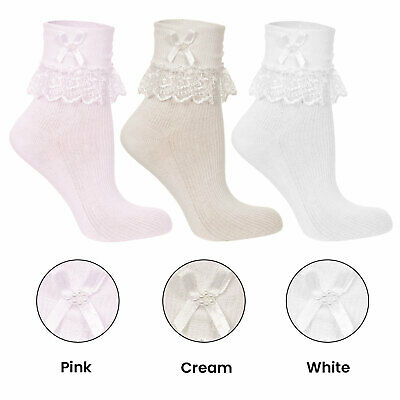 £2.40 • Buy Frilly Lace Baby Girls  Pearl Ribbon Jester Socks Cream White Pink 000-3.5 Sizes