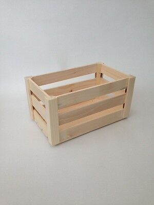 Natural Unpainted Wooden Apple Crate- Craft Box Set Storage Kitchen Container  • 8.99£