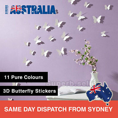 AU6.95 • Buy 12Pcs 3D Butterfly Wall Decals Removable Sticker Kids Art Nursery Decor Floral