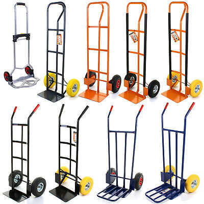 Sack Truck Industrial Warehouse Trolley Solid Wheels/ Pneumatic Tyre 4 Styles • 10.99£