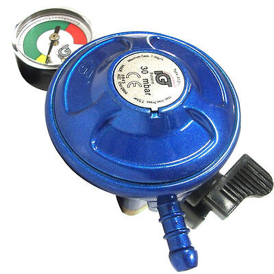 Caravan Motorhome 28-30 Mbar Butane Gas Regulator Clip On Fits Calor With Gauge • 10.95£