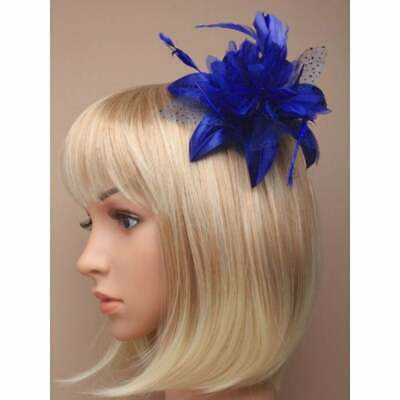Royal Blue Fascinator With Satin Flower, Petals And Feathers On Hair Comb • 3.50£