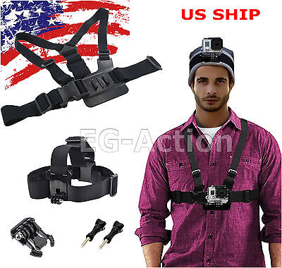 AU11.45 • Buy Harness Head + Chest Strap Mount Accessories For GoPro 1 2 3 4 Session Camera