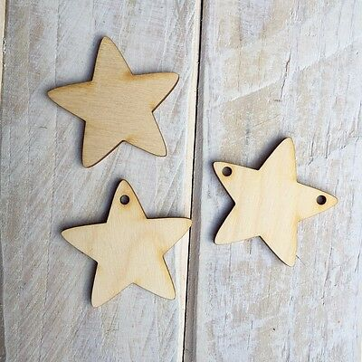 Wooden STAR Shape Craft Blank STAR Embellishments STAR 10 Pack • 2£
