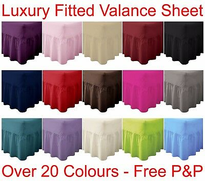 Plain Dyed Fitted Valance Sheet Poly-Cotton Bed Sheet Single Double & King Sizes • 9.99£
