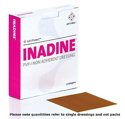 £3.20 • Buy Inadine 5cm X 5cm X5 Non-Adherent Wound Dressings Povidone Iodine AntiMicrobial